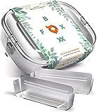FOXBOXX® Brotdose Edelstahl | Premium | GRATIS > 2 Trenner / 3 Fächer | DualCham Dichtung & Smart Clips | Auslaufsichere, umweltfreundliche Bento Box für Kinder & Erwachsene | XL 1400ml*