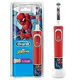 Oral-B Kids Spiderman Elektrische Zahnbürste für Kinder ab 3 Jahren, kleiner Bürstenkopf & weiche Borsten, 2 Putzprogramme inkl. Sensitiv, Timer, 4 Disney-Sticker, rot