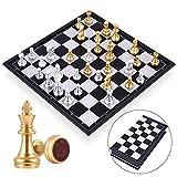 Peradix Schachspiel Magnetischem Einklappbar Schachbrett Schach für Kinder ab 6 Jahre und Erwachsene-Gold und Silber*