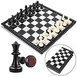 Peradix Schachspiel Magnetischem Einklappbar Schachbrett Schach für Kinder ab 6 Jahre (Schwarz und Weiß-25*25cm)