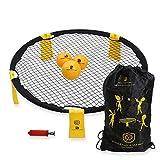 BOCHAMTEC Strikeball 3 Bälle Spielset – Aktuelles Bounce Netz inkl. Spielnetz, 3 Bällen, Tragetasche, Linealbuch, gelb