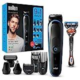 Braun 9-in-1-Trimmer MGK5280 Barttrimmer, Bodygrooming-Set und Haarschneider für Herren, schwarz/blau*