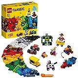 LEGO 11014 Classic Steinebox mit Rädern, Bausteine für Kinder, Spielzeug ab 4 Jahren, mit Spielzeugauto, Zug, Bus, Roboter und vielem mehr