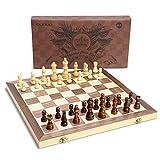 OUNUO Schachspielaus Holz - klappbares magnetisches Schachbrett - handgefertigt Schach - Qualität Schachkassette - Faltschachset für Haus, Reise - PädagogischeSpeilfürKinder