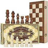 Peradix Schachspiel aus Holz ,Schach Klappbar-Schachbrett Handgefertigt mit Schachfiguren groß für Familie Geschenk Reisen Kinder und Erwachsene 38x38 cm
